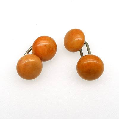 Sterling Silver Double Ended Cufflinks with Button Shaped Jasper Beads