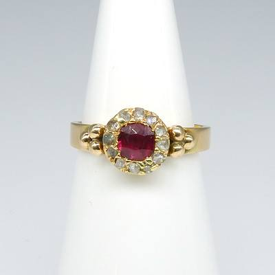 Antique 9ct Yellow Gold Round Cluster with Cushion Cut Natural Pink/Red Ruby and Twelve Rose Cut Diamonds Ring