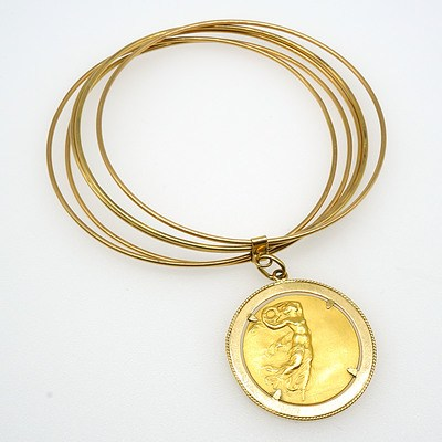 18ct Yellow Gold Five Round Bangles with a Coin Drop in Four Claw Frame, 28.5g