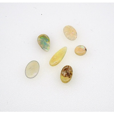 Six Cabochons of Solid White Opal