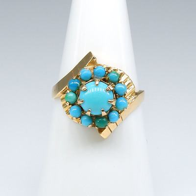18ct Rose Gold Ring with Round Cluster of Turquoise