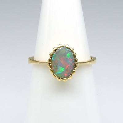 18ct Yellow Gold Solid Dark Opal Ring with Good 'Play of Colour', Including Red