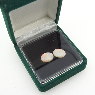 Matching Pair Oval Natural White Opal Cabochon