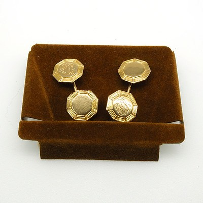 14ct Yellow Gold Double Sided Hexagonal Cufflinks