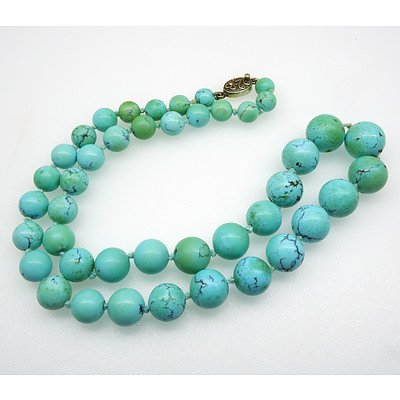Natural Turquoise Graduated Necklace