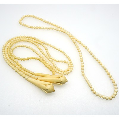 Strand of 3.50mm Ivory Beads with Two Tear Drop Shaped Ends and a Strand of 4mm Ivory Beads