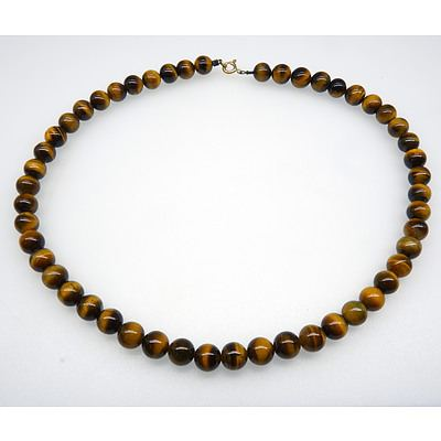Tiger Eye Round Beaded Necklace