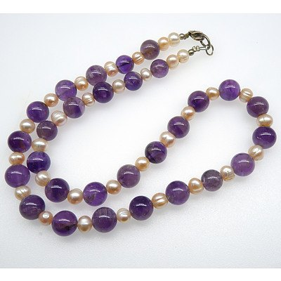 Round Amethyst Beaded Necklace Alternating with Pale Pink Freshwater Pearls