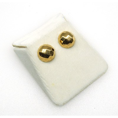 9ct Yellow Gold Half Sphere Earrings with Facetted Top Stud