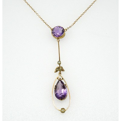 Antique 9ct Pink Gold Amethyst and Seed Pearl Necklace on a Fine Chain