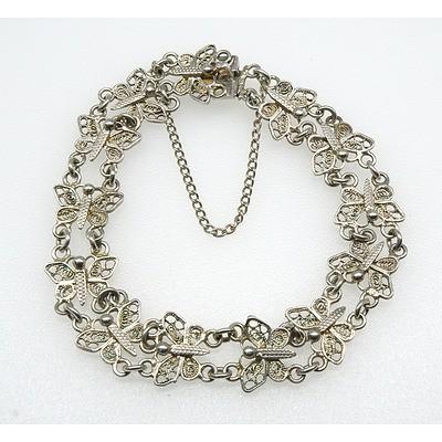 800 Silver Butterfly Double Link Bracelet