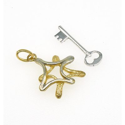 Sterling Silver Charm and Another 800 Silver Gold Plated Charms