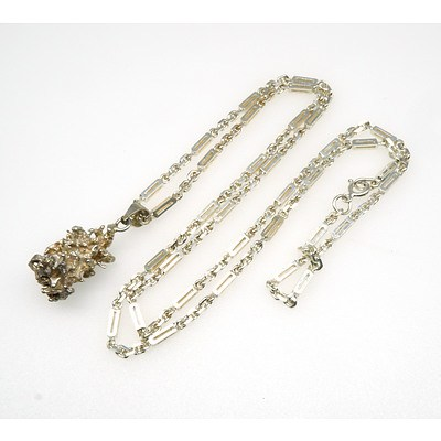 Long Silver Matchstick Type Chain with a Silver Freeform Nugget Pendant