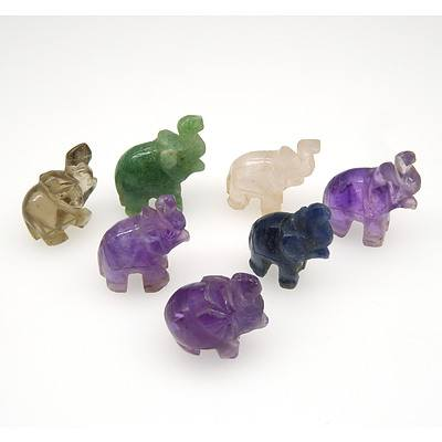Seven Carved Amethyst, Smoky Quartz, Rose Quartz, Aventurine Quartz and Lapis Elephants