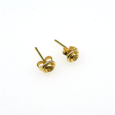 18ct Yellow Gold Stud Earrings with Bezel Set Round Facetted Bright Yellow Sapphire with a Frame