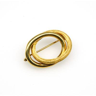 14ct Yellow Gold Two Oval Framed Intertwined Hollow Brooch