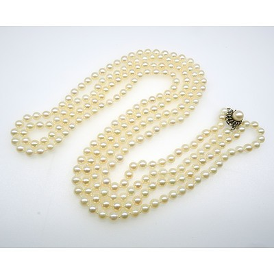 Extra Long Stand of White Round Cultured Akoya Type Pearls with 14ct White Gold Clasp
