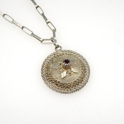 800 Silver Asian Style Filigree Pendant with Facetted Red Gem on an Oval Link Chain