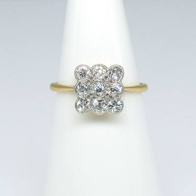 Antique 18ct Yellow and White Gold Ring with Nine Old European Cut Diamonds