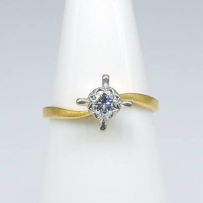 18ct Yellow Gold and Platinum Ring with One Round Brilliant Cut Diamond