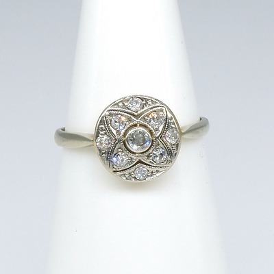 Antique 18ct White Gold Ring with Round Disc with Centre Early Brilliant Cut Diamond with Around It In Bead Setting Eight Single Cut Diamonds