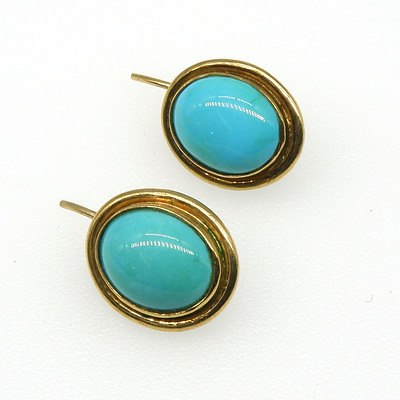 9ct Yellow Gold Earrings with Oval Turquoise Cabochon