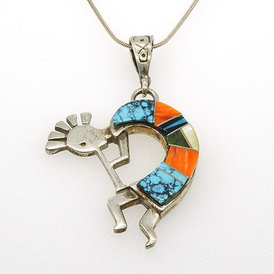 Mexican Sterling Silver Figure Pendant with Mixed Gem Slabs, Including Turquoise and Jasper in a Curve