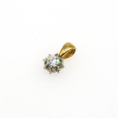18ct Yellow and White Gold Drop With One Old European Cut Diamond in an Eight Claw Belcher Setting