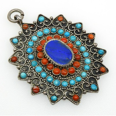 Turkish Silver Filigree Pendant with Round Turquoise and Coral Cabochon and centre Oval Slab of Lapis Lazuli