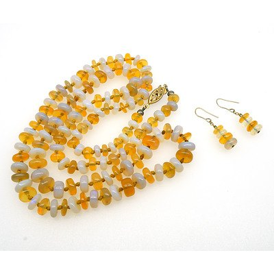 Alternating White and Pale Yellow Opal Rondelles Necklace and Matching Earrings with Four Beads
