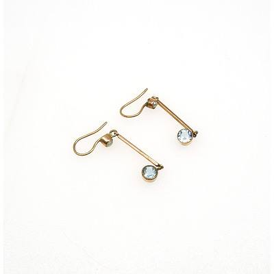 9ct Red Gold Drop Earring with Round Facetted Aquamarine on the Bottom of a Long Bar Link and Bezel Set Half Seed Pearl on The Earrings Hooks