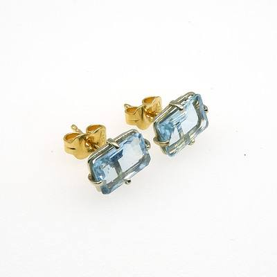 18ct White and Yellow Gold Earrings with Emerald Cut Medium Aquamarine