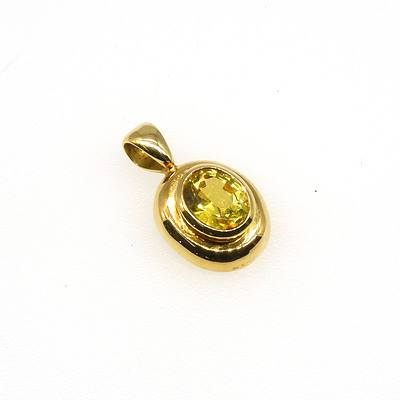 18ct Yellow Gold Pendant with Oval Greenish Yellow Sapphire