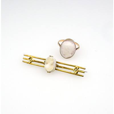 9ct Yellow Gold Ring with Pale Pink Shell Ladies Head Cameo and 9ct Yellow Gold Triple Bar Brooch with White Cameo Centre on Each End of the Bar is a Half Seed Pearl in Bead Setting