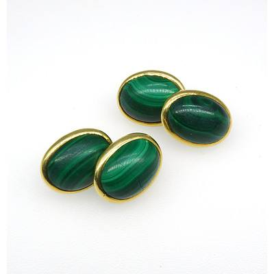 14ct Yellow Gold Double Ended Cufflinks with Malachite Cabochons in Bezel Setting