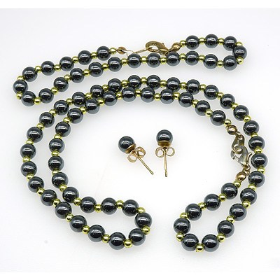 Hematite Bead Necklace and Matching Bracelet and Earrings
