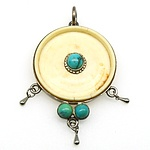 Antique Ivory Disk With Centre Turquoise Cabochon Pendant in Bezel Setting and Two Turquoise at the Base in Silver