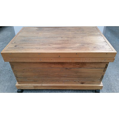 Rustic Hardwood Chest Made From 1800's Repurposed Antique Baltic Pine