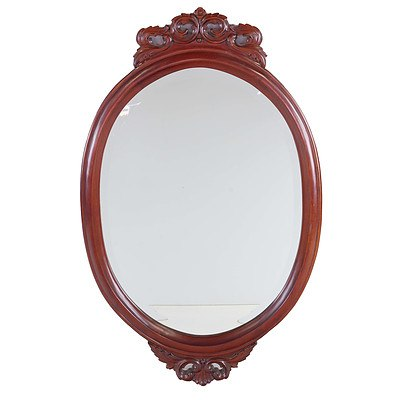 Victorian Style Mahogany Framed Wall Mirror With Bevelled Glass