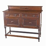 Tudor Style Oak Sideboard With Barley Twist Supports Circa 1920s