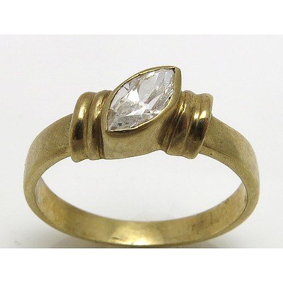 9Ct Gold Ring - Marquise-Cut Cz