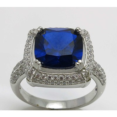 Sterling Silver Ring - Sapphire Blue Cz With White Cz