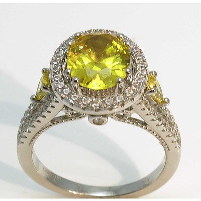 Sterling Silver Ring - Yellow Cz Centre & Shoulders, White Cz Surround & Split Shoulders