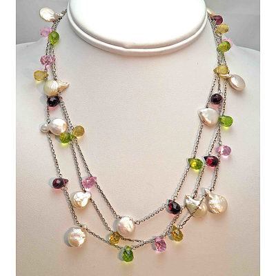 Sterling Silver Necklaces - Set With Drilled Cultured Pearls And Briolette Cut Stones