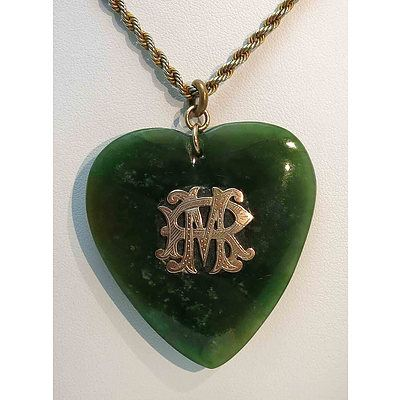 Vintage Nz Greenstone Pendant - 9Ct Gold Monogram