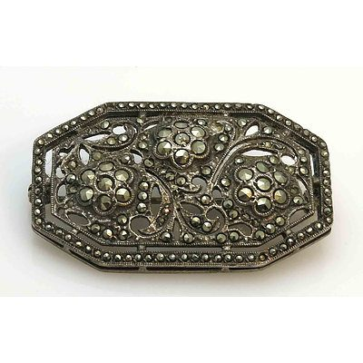Vintage Marcasite Silver Brooch