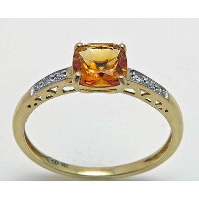 10Ct Gold Citrine & Diamond Ring