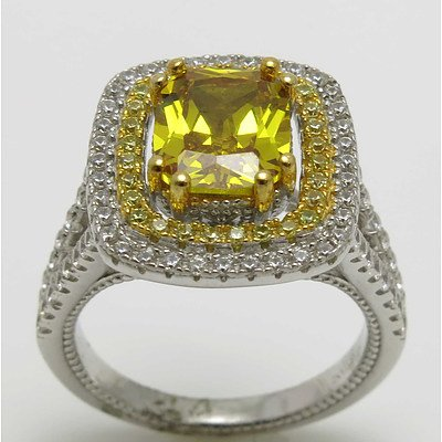 Sterling Silver Ring - Golden Cz With White Cz