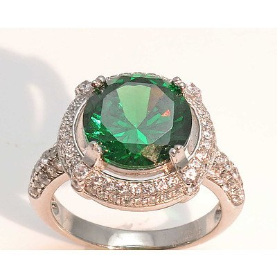 Sterling Silver Ring - Emerald Green Cz, Pave Set With White Cz
