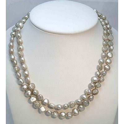 Silver Fresh-Water Cultured Pearl Necklace - Very Long